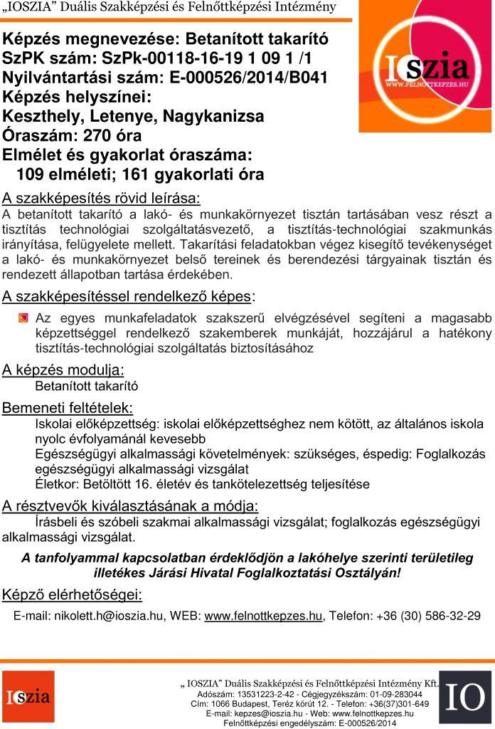 Betanított takarító - Keszthely - Letenye - Nagykanizsa - felnottkepzes.hu - Felnőttképzés - IOSZIA