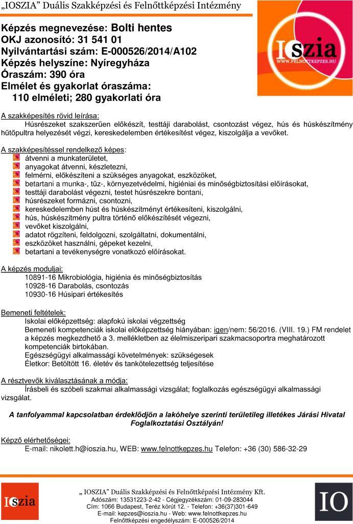 Bolti hentes OKJ - Nyíregyháza - felnottkepzes.hu - Felnőttképzés - IOSZIA