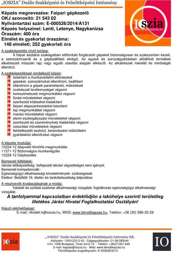 Faipari gépkezelő OKJ - Lenti - Letenye- Nagykanizsa - felnottkepzes.hu - Felnőttképzés - IOSZIA