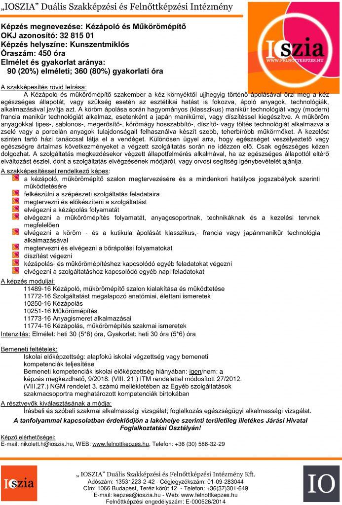 Kézápoló és műkörömépítő - Kunszentmiklós - IOSZIA felnőttképzés