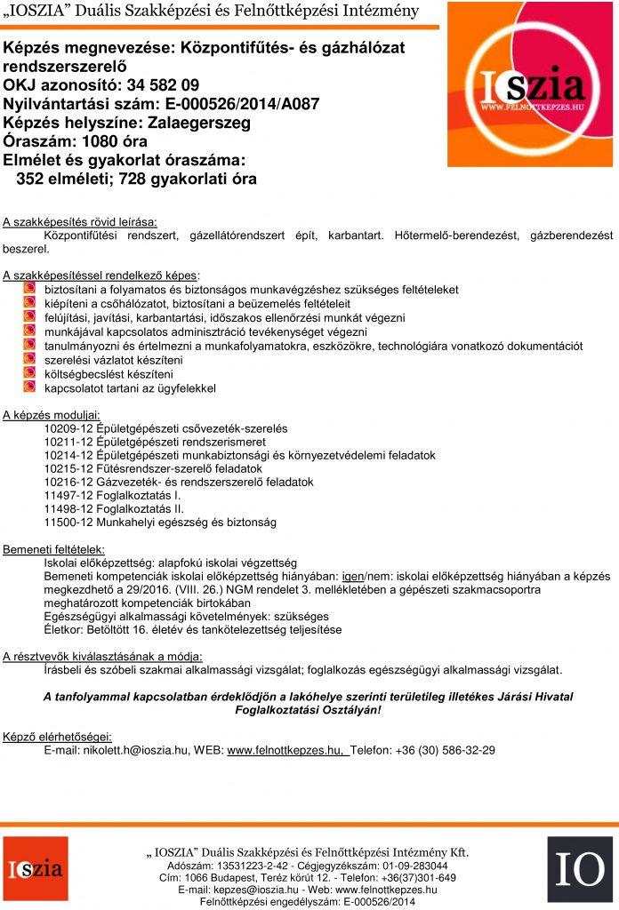 Központifűtés- és gázhálózat rendszerszerelő OKJ - Zalaegerszeg - felnottkepzes.hu - Felnőttképzés - IOSZIA