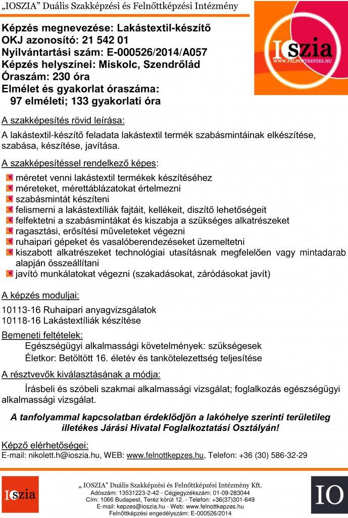 Lakástextil-készítő OKJ - Miskolc - Szendrőlád - felnottkepzes.hu - Felnőttképzés - IOSZIA