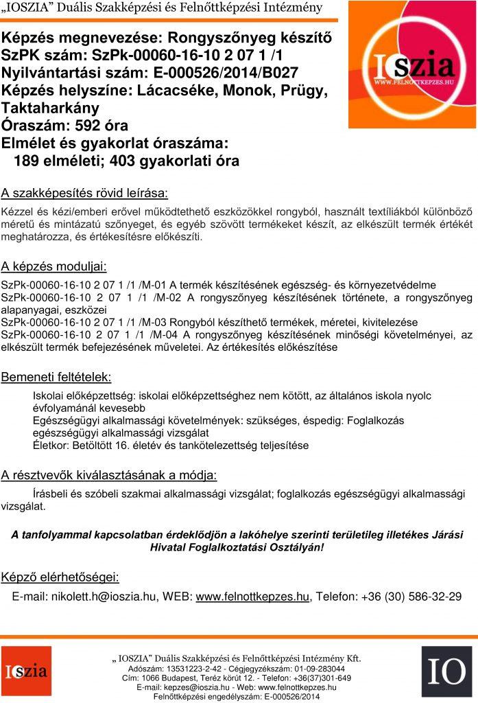 Rongyszőnyeg készítő - Lácacséke - Monok - Prügy - Taktaharkány - felnottkepzes.hu - Felnőttképzés - IOSZIA