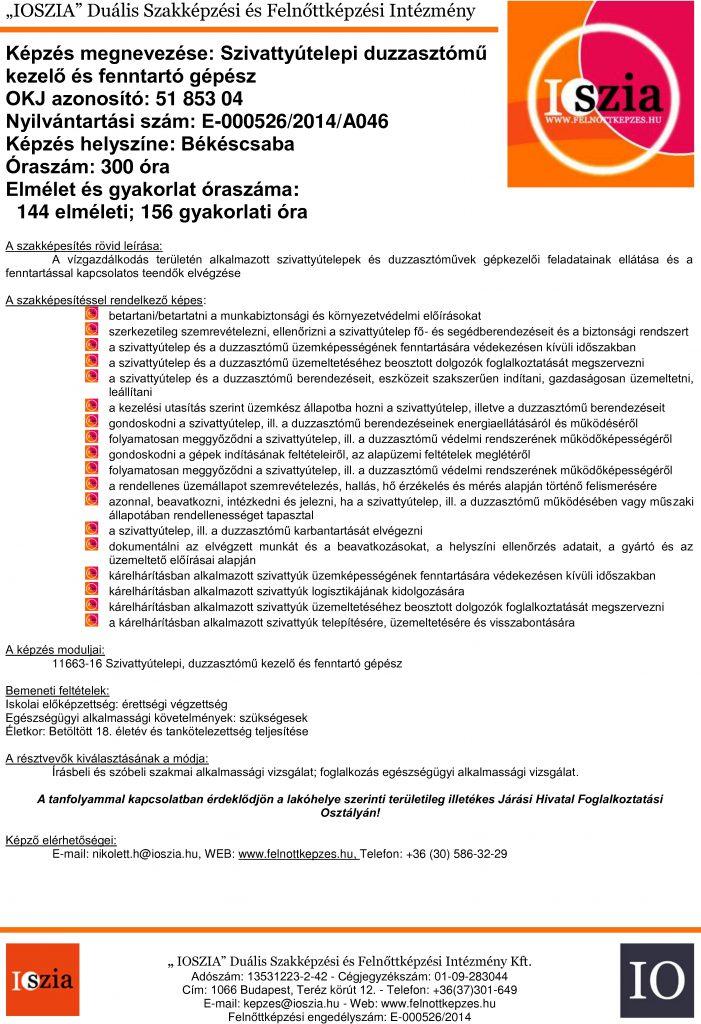 Szivattyútelepi duzzasztóműkezelő és fenntartó gépész - OKJ - Békéscsaba - felnottkepzes.hu - Felnőttképzés - IOSZIA