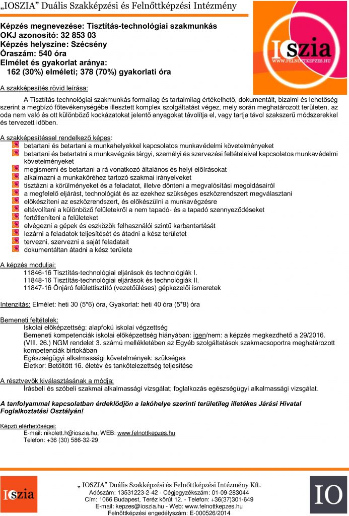 Tisztítás-technológiai szakmunkás - Szécsény - IOSZIA felnőttképzés felnottkepzes.hu